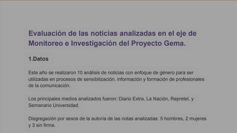 Evaluación de las noticias analizadas en el eje de Monitoreo e Investigación del Proyecto Gema.